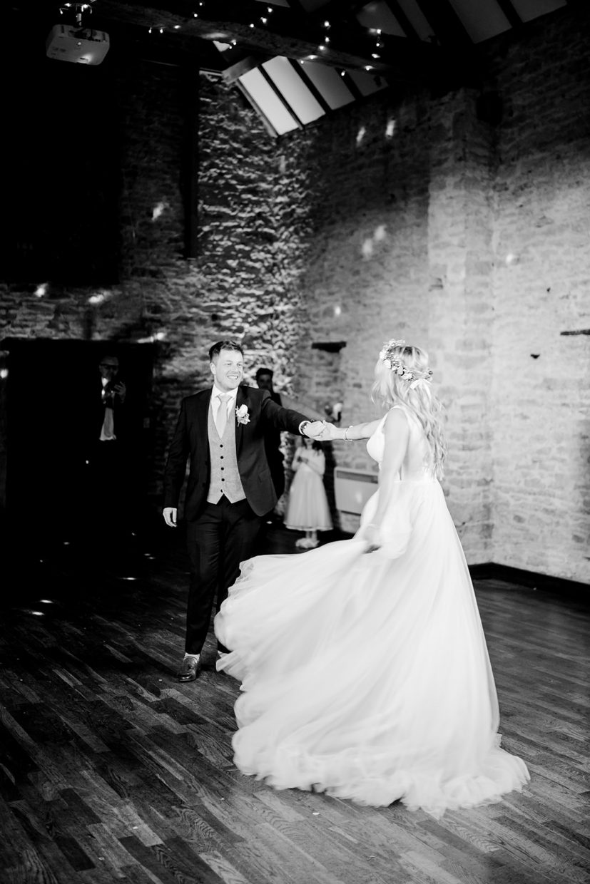 bride and groom first dance at wedding aynhoe