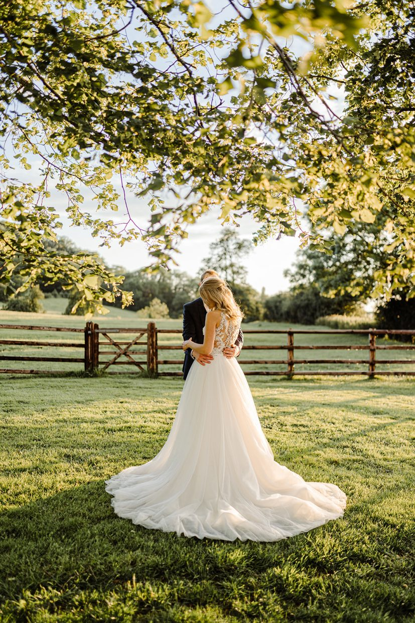 Maggie sottero at golden hour sunset at primrose hill farm