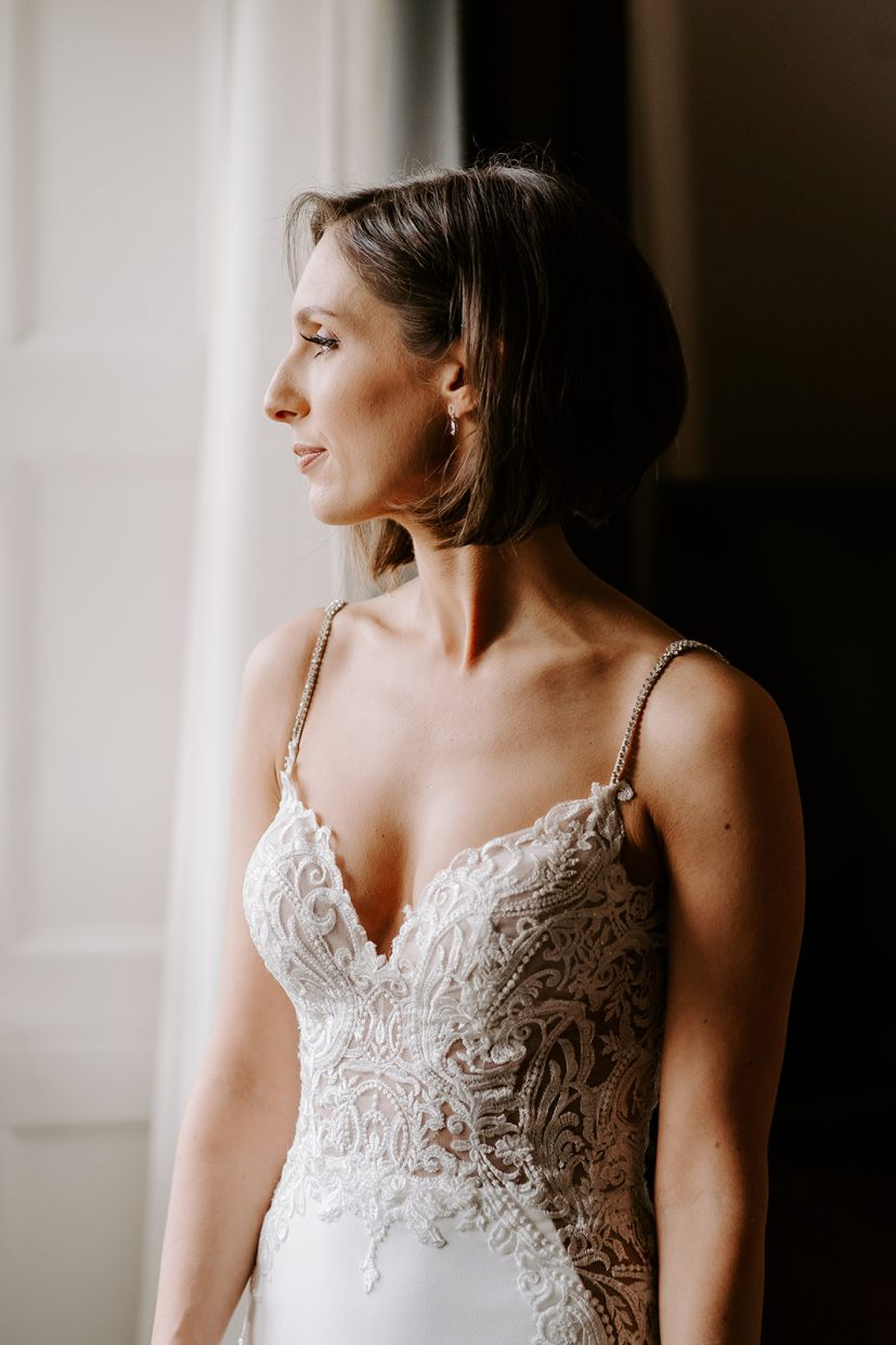 bridal portraits in enzoani dress at tortworth court
