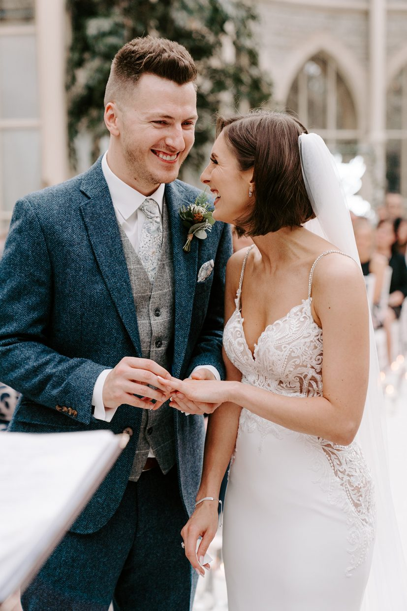 bride and groom in orangery ceremony at tortworth court