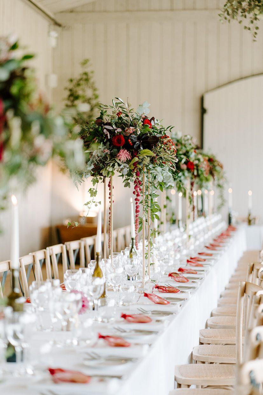 autumnal modern flower high table centrepieces