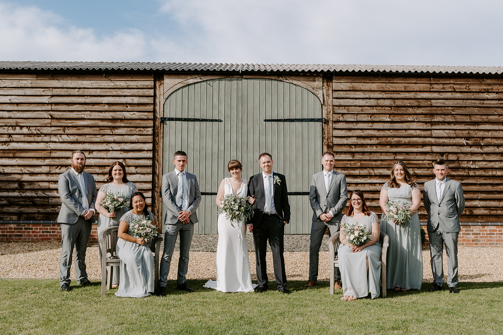 posed bridal party group wedding photos at primrose hill farm
