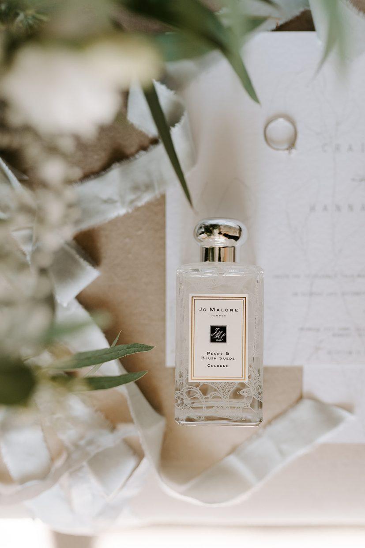 flat lay of Joe Malone perfume and stationery