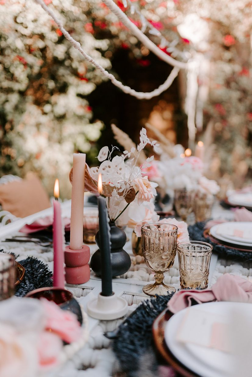 pink and black boho tablescape by cara creative AK weddings at beldi country club Marrakech