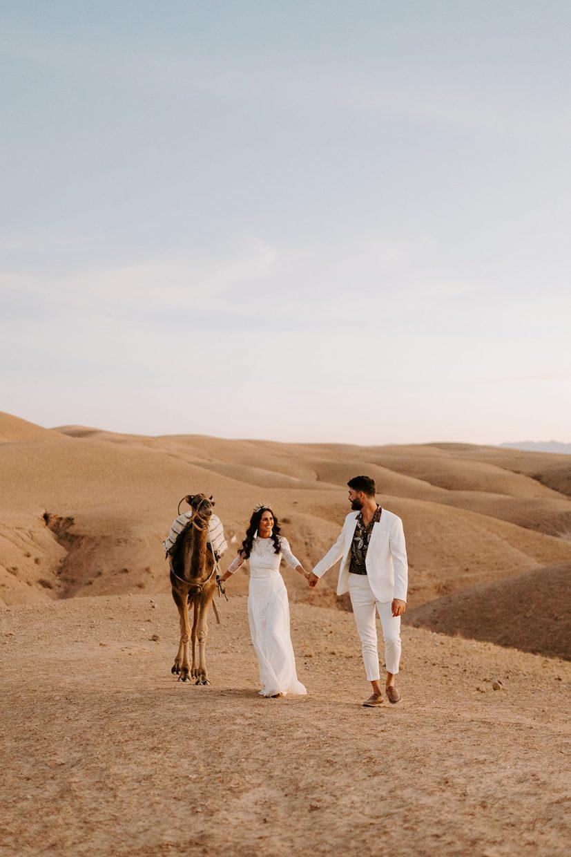 camels boho elopement wedding in agafay desert marrakech