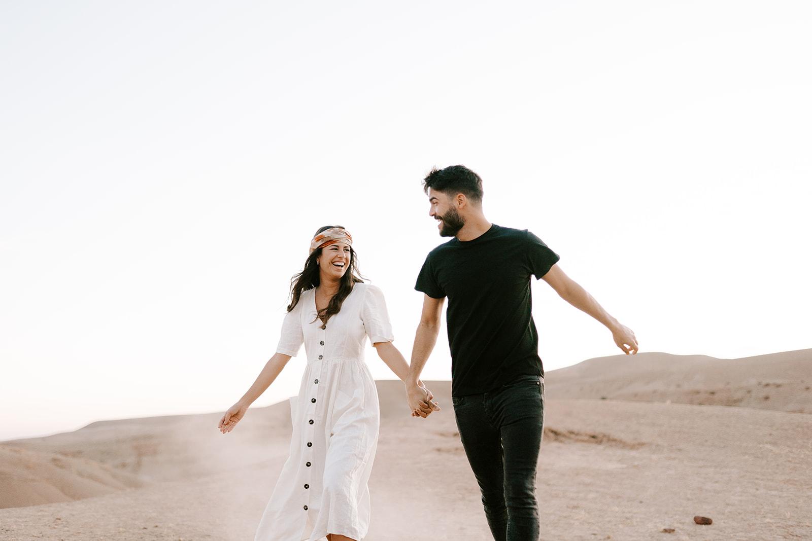 couples engagement shoot in agafay desert at marrakech