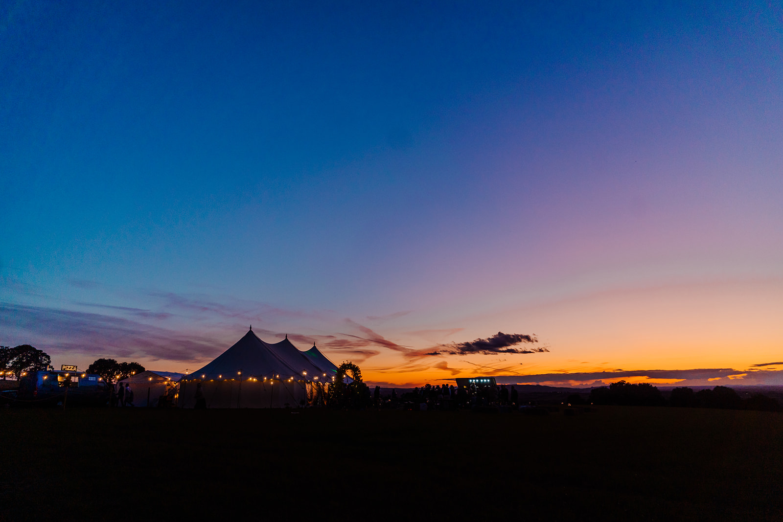 sunset Boho marquee wedding cotswolds