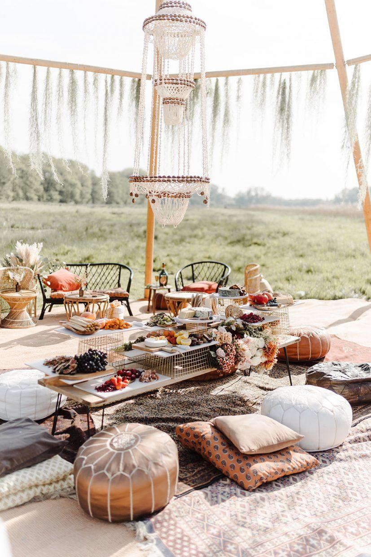 boho couples destination wedding naked tipi grazing table