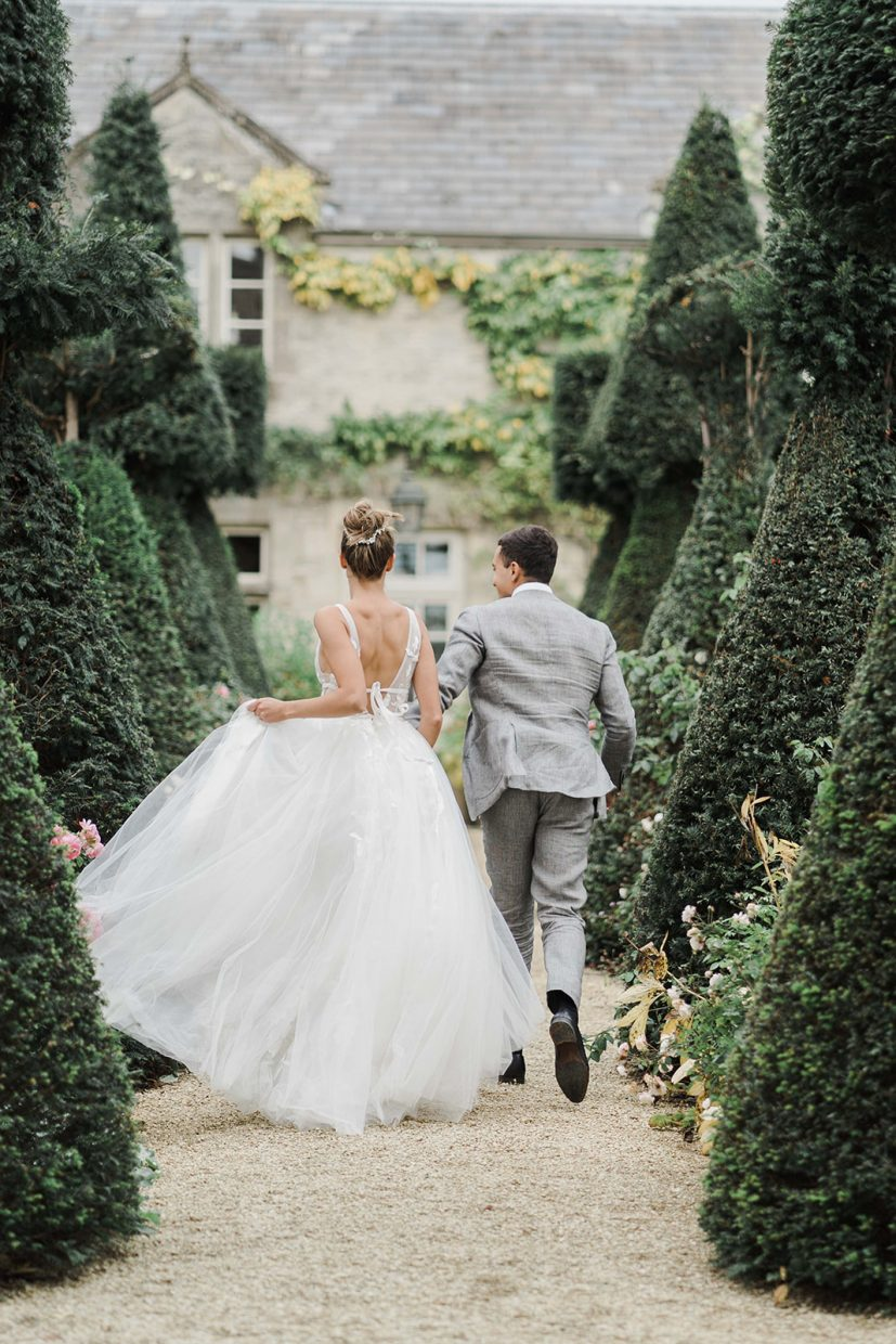 couples portraits willow by watters dress Weddings at the lost orangery cotswolds