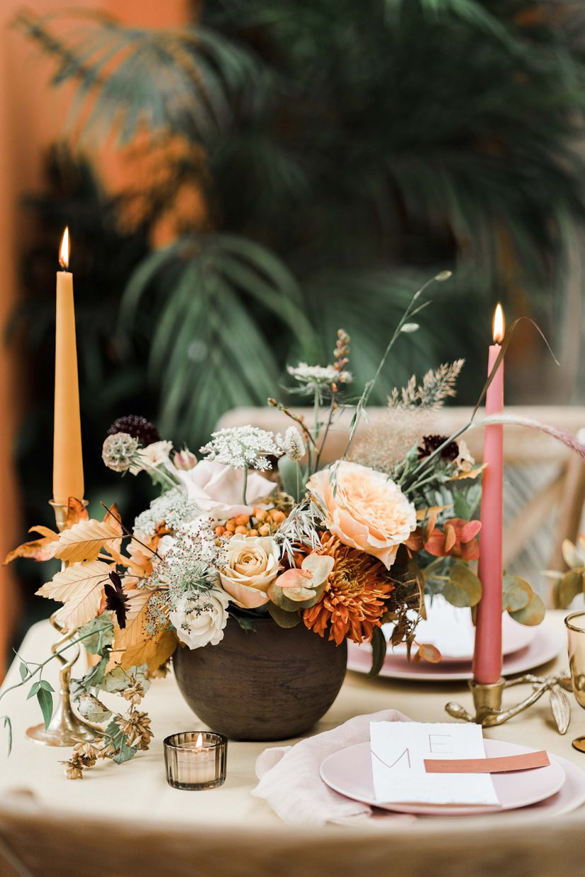 tablescape burnt orange relaxed flowers Wild&co Weddings at the lost orangery cotswolds