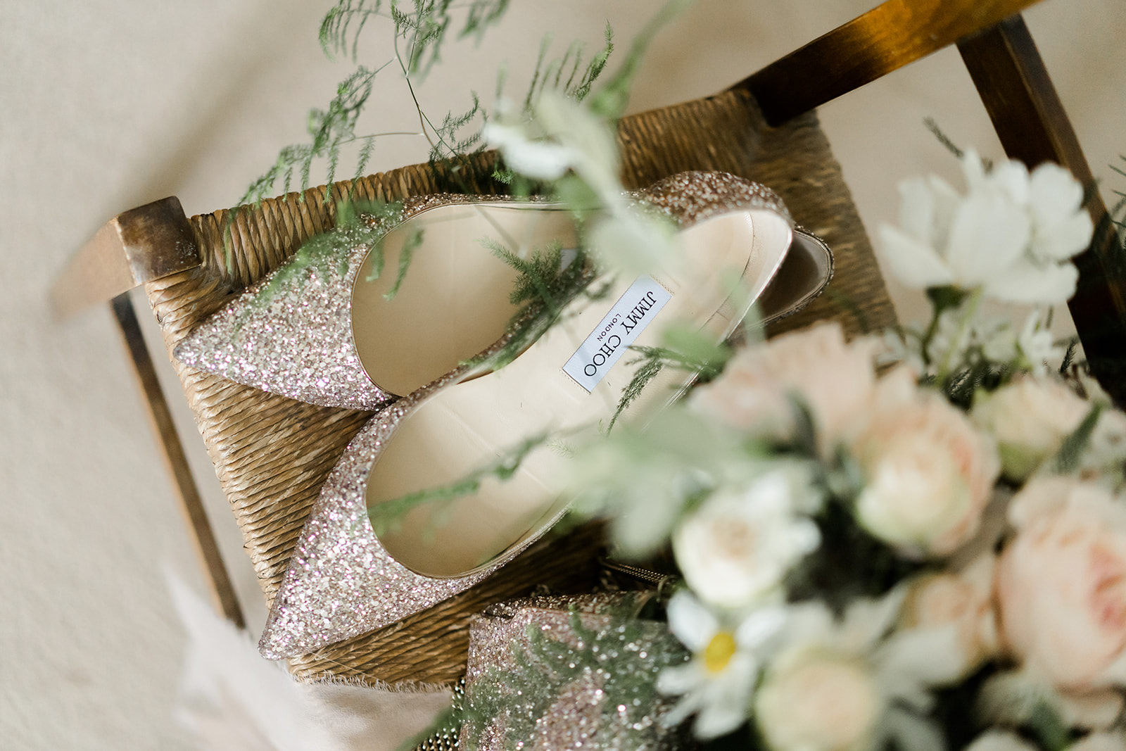 Lucy Walker flowers jimmy Choo shoes Boho marquee wedding cotswolds