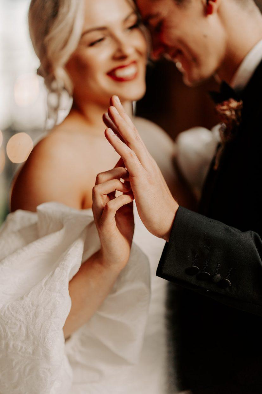 Couples Photos in Monique Lhuillier Dress at The Hidden River Cabins Carlisle Cumbria The Lake District Wedding Venue