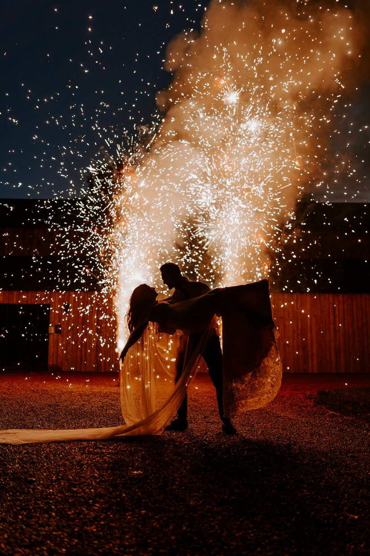 Couples Sparkler Firework Photos at The Hidden River Cabins Carlisle Cumbria The Lake District Wedding Venue