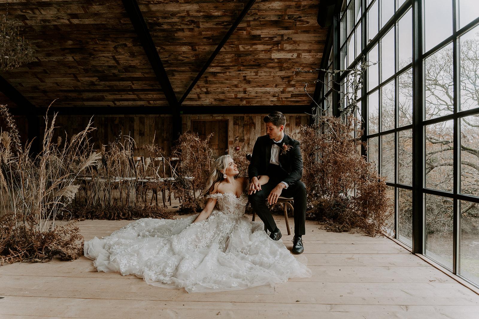 Bride in Galia Lahav Dress at The Hidden River Cabins Carlisle Cumbria The Lake District Wedding Venue