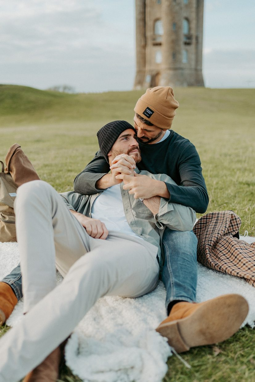 Same sex couples lifestyle blogger shoot at Broadway Tower The Cotswolds
